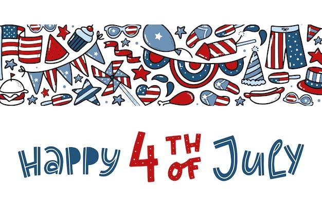 4 juli banner met quote en doodles