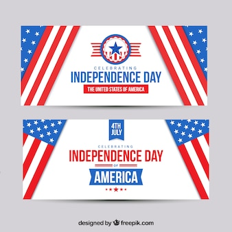 4 juli banners met amerikaanse vlaggen