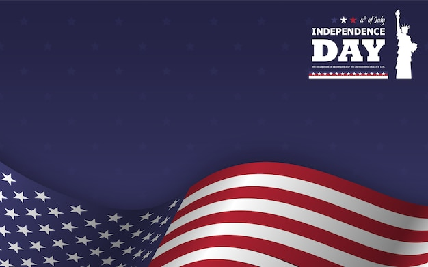 4 juli gelukkige dag van de onafhankelijkheid van amerika achtergrond. standbeeld van silhouet van het vrijheid het vlakke silhouet met tekst en golvende amerikaanse vlag