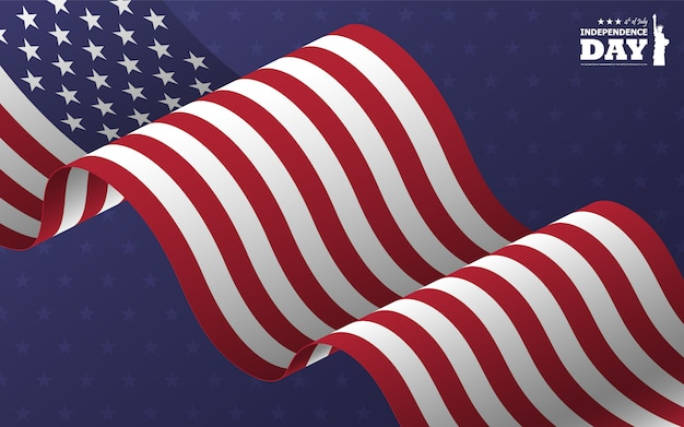 4 juli gelukkige onafhankelijkheidsdag van amerika. standbeeld van silhouet van het vrijheid het vlakke silhouet met tekst en golvende amerikaanse schuine vlag