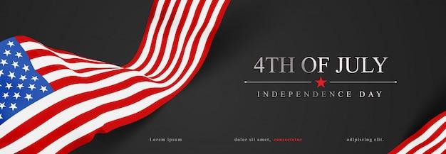 4 juli met realistische amerikaanse vlag banner