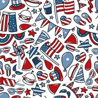4 juli naadloos patroon met doodles