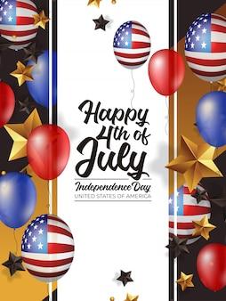 4 juli onafhankelijkheidsdag amerika met realistische ballon
