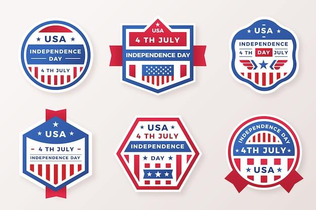 4 juli - onafhankelijkheidsdag badges in plat ontwerp