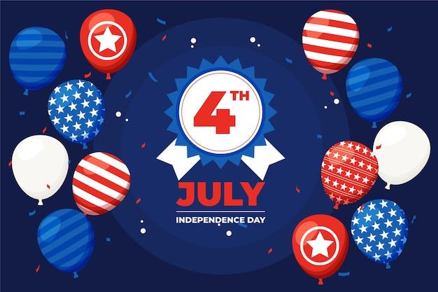 4 juli - onafhankelijkheidsdag ballonnen achtergrond in platte ontwerp