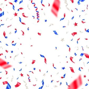 4 juli onafhankelijkheidsdag confetti in de kleuren van de nationale vlag van de vs