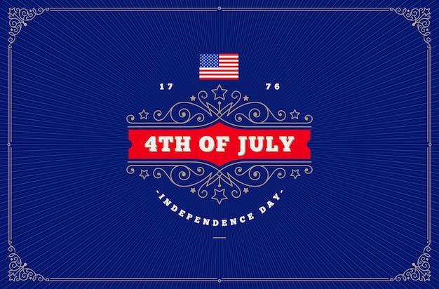 4 juli onafhankelijkheidsdag groet ontwerp met bloeit sierlijsten