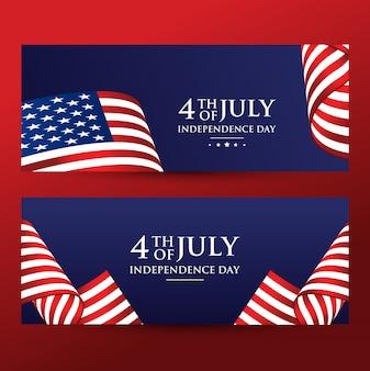 4 juli-onafhankelijkheidsdag met amerikaanse vlag
