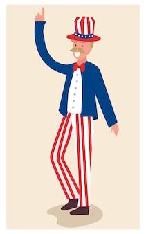 4 juli, onafhankelijkheidsdag met oom sam karakterbeeldverhaal.