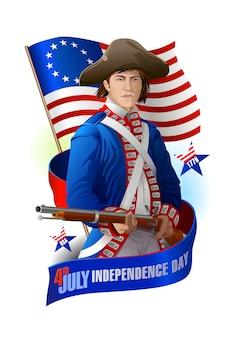 4 juli-onafhankelijkheidsdag van de grafische samenstelling van de vs: militair, vlag en lintbanner
