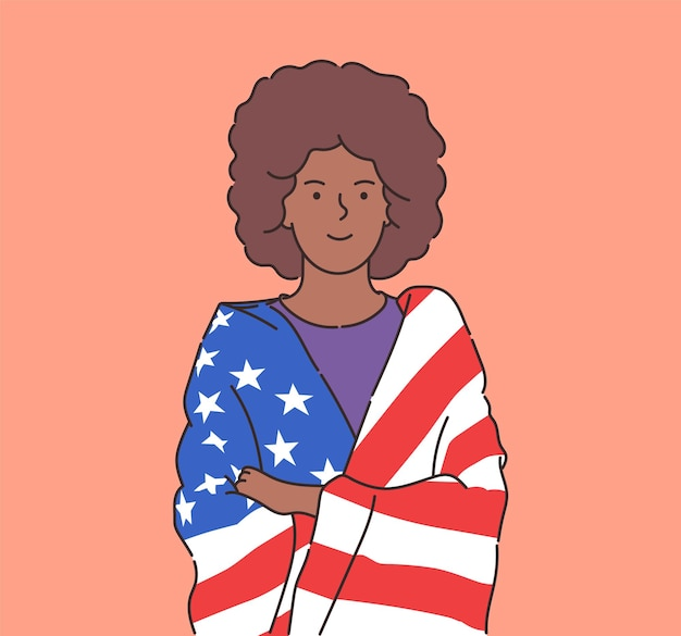 4 juli onafhankelijkheidsdag vrijheid democratie gelukkige jonge afro-amerikaanse vrouw gewikkeld in de vlag van de v.s. platte vectorillustratie