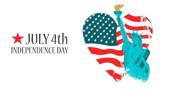 4 juli onafhankelijkheidsdag. vrijheidsbeeld met een fakkel in zijn hand