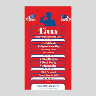 4 juli us independence day uitnodigen sjabloon met bbq, zwembad feest en vuurwerk attractie.