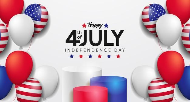 4 juli van de vs, amerikaanse onafhankelijkheidsdag ceremonieel met podiumproductvertoning en kleurrijke ballonfeestvieringssjabloon voor spandoek