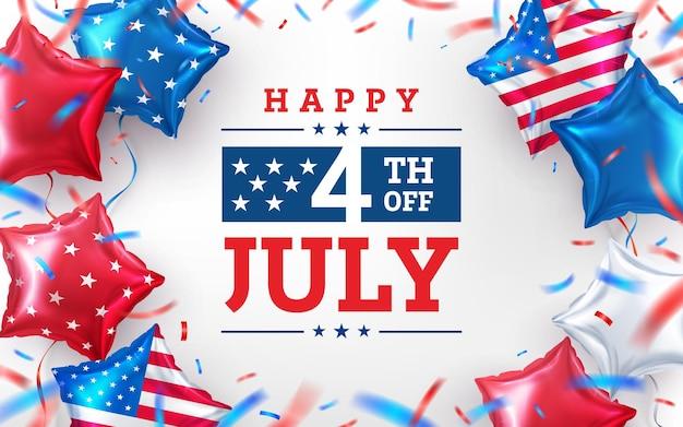 4 juli verkoop poster. usa onafhankelijkheidsdag viering met american star ballon. vs 4 juli promotie reclamebannersjabloon voor brochures, poster of banner