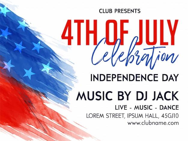 4 juli viering uitnodiging flyer versierd met vlag op penseel voor 4 juli, amerikaanse independence day party celebration.