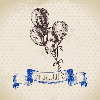 4 juli vintage achtergrond. onafhankelijkheidsdag van amerika handgetekende schetsontwerp