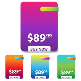 4 kleurrijke prijstabel