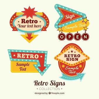 4 outdoor tekens, retro stijl