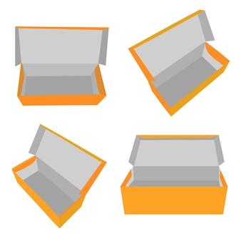 4 perspectief eenvoudige vector mockup oranje schoenendoos, geïsoleerd op wit