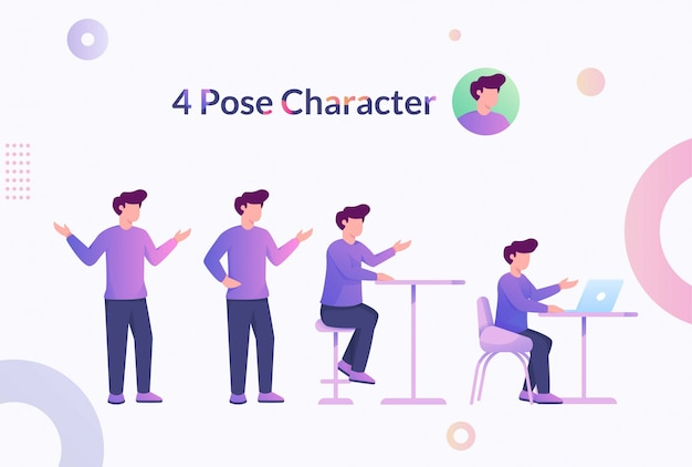 4 pose karakter man illustratie