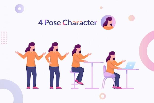 4 pose karakter vrouw illustratie