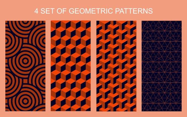 4 set geometrische naadloze patronen abstracte geometrische cirkel driehoek vierkant zeshoekig