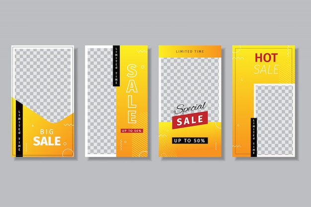 4 sets ontwerpsjablonen voor social media-verhalen voor verkoop