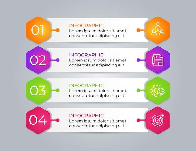 4 stap moderne zakelijke infographic
