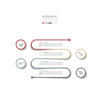 4 stappen infographic ontwerpsjabloon.