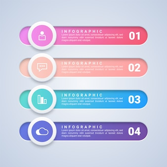 4 stappen infographic sjabloon