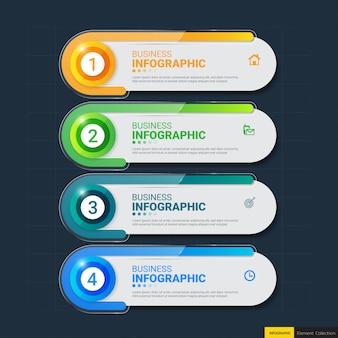 4 stappen infographics-sjabloon