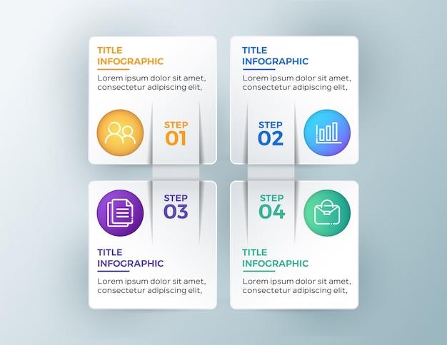 4 stappen moderne zakelijke infographic