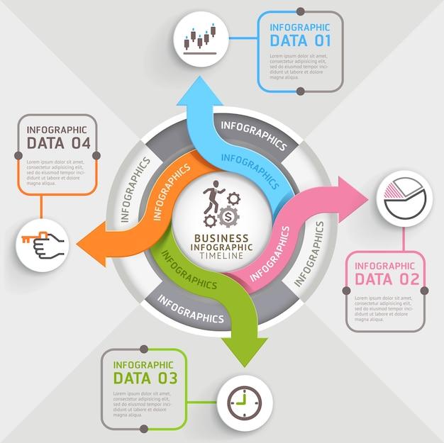 4 stappen pijl cirkel infographics sjabloon.