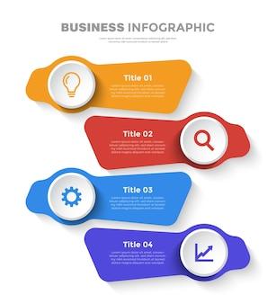 4 stappen platte zakelijke infographic sjabloon