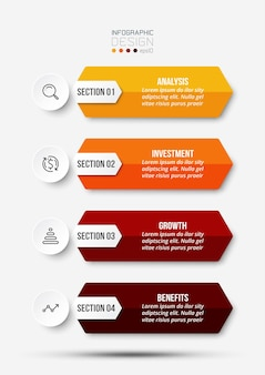 4 stappen proces workflow infographic sjabloon