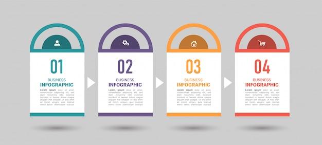 4 stappen tijdlijn infographics ontwerpsjabloon.