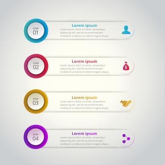 4 stappen van infographic met blauw geel rood en magenta kleuren