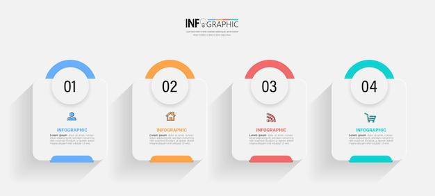 4 stappen verwerken infographic sjabloon