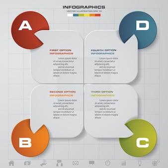 4 stappen verwerken infographics ontwerpelement.