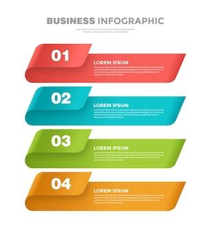 4 stappen zakelijke infographic sjabloon