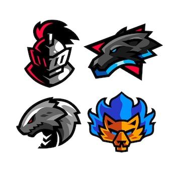 4 stel mascotte-logo in voor e-sportteam