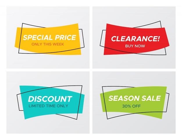 4 trendy platte verkoop levendige kleuren rechthoekige stickers
