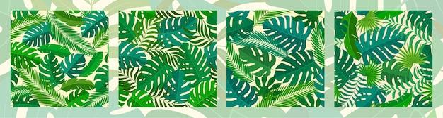 4 tropische naadloze natuurlijke patronen van exotische bladeren.