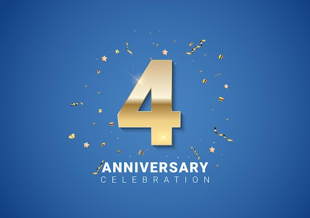 4 verjaardag achtergrond met gouden cijfers, confetti, sterren op heldere blauwe achtergrond. vectorillustratie eps10