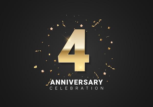 4 verjaardag achtergrond met gouden cijfers, confetti, sterren op heldere zwarte vakantie achtergrond. vectorillustratie