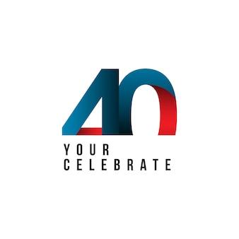 40 jaar verjaardag vector sjabloon ontwerp illustratie
