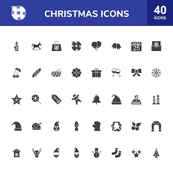 40 kerstmis glyph icons set