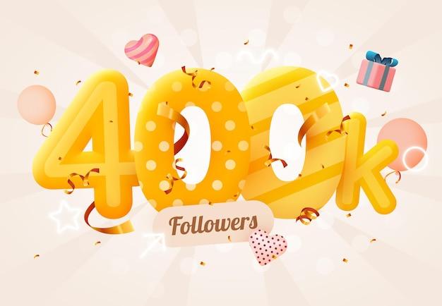 400.000 of 400.000 volgers bedankt roze hart, gouden confetti en neonreclames.