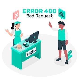 400 fout slecht verzoek concept illustratie